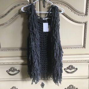Blue Pepper shaggy knit vest